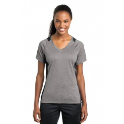 Sport-Tek  Ladies Heather Colorblock Contender & V-Neck Tee. LST361