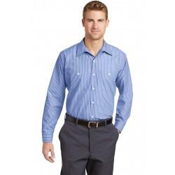 Red Kap  Long Size, Long Sleeve Striped Industrial Work Shirt. CS10LONG