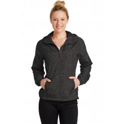 Sport-Tek  Ladies Heather Colorblock Raglan Hooded Wind Jacket. LST40